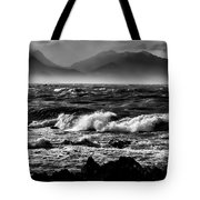 Stormy Coast New Zealand In Black And White Tote Bag