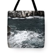 Mediterranean Sea And Rocks Sculpted By Wind And Salt In South Of Menorca Tote Bag