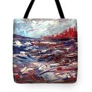 Stormy Lake Abstract Tote Bag
