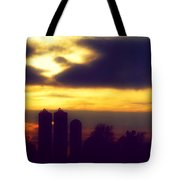 Stormy Silhouette Sunset Tote Bag