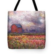Stormy Sunflower Farm Tote Bag