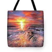 Stormy Sunset At Water's Edge Tote Bag