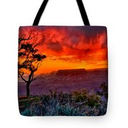 Stormy Sunset Greeting Card Tote Bag