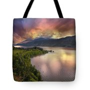 Stormy Sunset Over Columbia River Gorge At Hood River Tote Bag
