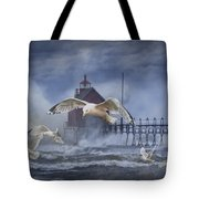Stormy Weather At The Grand Haven Lighthouse Tote Bag