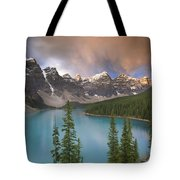 Stormy Weather Over Moraine Lake Tote Bag