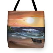 Stranded At Sunset Tote Bag