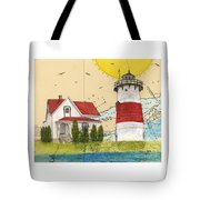 Stratford Pt Lighthouse Ct Nautical Chart Map Art Tote Bag