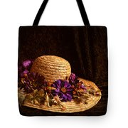 Straw Hat And Flowers Tote Bag