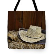 Straw Hat  On  Hay Tote Bag