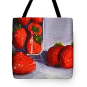 Strawberries And Glass Tote Bag