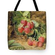 Strawberries And Peas Tote Bag by John Sherrin
