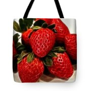 Strawberries Expressive Brushstrokes Tote Bag