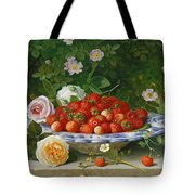 Strawberries In A Blue And White Buckelteller With Roses And Sweet Briar On A Ledge Tote Bag by William Hammer