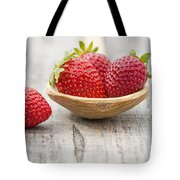 Strawberries In A Wooden Spoon Tote Bag