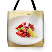Strawberries With Lime And Mint Tote Bag
