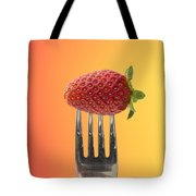 Strawberry On Fork Tote Bag