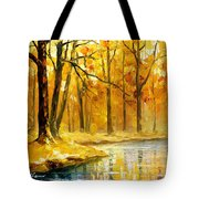 Stream In The Forest - Palette Knife Oil Painting On Canvas By Leonid Afremov Tote Bag