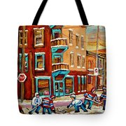 Street Hockey Practice Wilensky's Diner Montreal Winter Street Scenes Paintings Carole Spandau Tote Bag