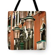 Street Lamps Of Venice Tote Bag