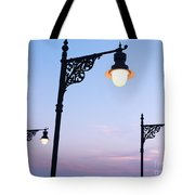Street Lamps Over Sunset Sky Background Tote Bag