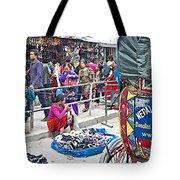 Street Market View From A Rickshaw In Kathmandu Durbar Square-nepal Tote Bag