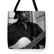 Street Musician Black And White Tote Bag