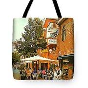 Street Musician Serenades The Terrace Umbrella Crowd At Ristorante Finzi Italienne Cafe Scene Tote Bag