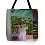 Street Side Barber Cuts Client Hair Singapore Tote Bag