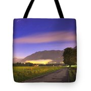 Street With A Tree And Mountain Tote Bag