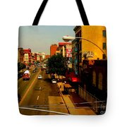 Street With Bus Stop Tote Bag