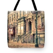 Streets Of Old New York City Watercolor Tote Bag