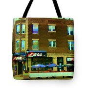 Streets Of Pointe St Charles Centre And Charlevoix Summer La Chic Regal Pub Scenes Carole Spandau Tote Bag