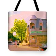 Streets Of Pointe St Charles Summer Scene Connies Pizza Rue Charlevoix Et Grand Trunk Carole Spandau Tote Bag