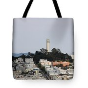 Streets Of San Francisco With Coit Tower Tote Bag