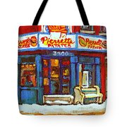 Streets Of Verdun Hockey Game At Famous Verdun Restaurant Pierrette Patates Montreal Hockey Art  Tote Bag