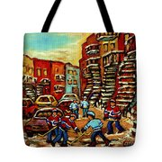 Streets Of Verdun Paintings He Shoots He Scores Our Hockey Town Forever Montreal City Scenes  Tote Bag