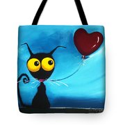 Stressie Cat And Her Love Balloon Tote Bag