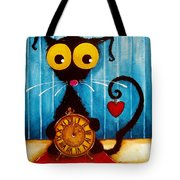 Stressie Cat And The Tick Tock Tote Bag