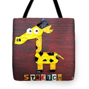 Stretch The Giraffe License Plate Art Tote Bag