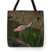 Stretched Out Pink Spoonbill Tote Bag