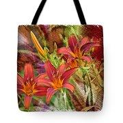 Striking Daylilies - Digital Art Tote Bag