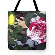 Striped Rose And Yellow Tote Bag