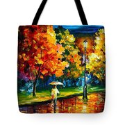 Stroll In The Night - Palette Knife Oil Painting On Canvas By Leonid Afremov Tote Bag