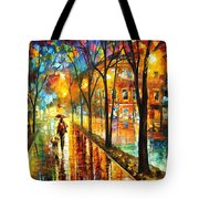 Stroll With My Best Friend - Palette Knife Oil Painting On Canvas By Leonid Afremov Tote Bag
