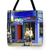 Strolling By The Blue Boy Frozen Yogurt Glacee Cafe Plateau Mont Royal City Scene Carole Spandau   Tote Bag