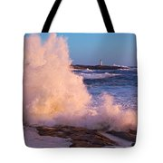 Strong Winds Blow Waves Onto Rocks Tote Bag