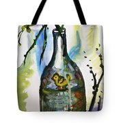 Study - Yellow Ducky In  Bottle Tote Bag