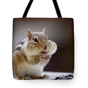 Stuffed Chipmunk Tote Bag by Peggy Collins