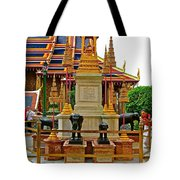 Stupa Surrounded By Elephants At Grand Palace Of Thailand In Ban Tote Bag